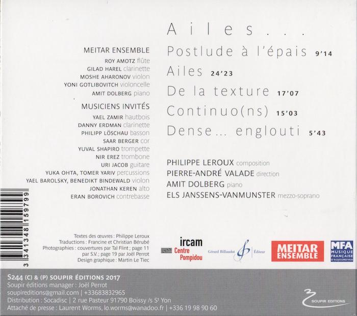 CD Leroux : Ailes, back-cover